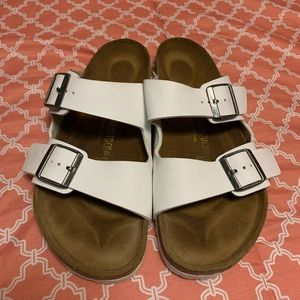 Birkenstock White Leather Sandals  Size 42